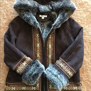 Coldwater Creek faux suede and fur jacket